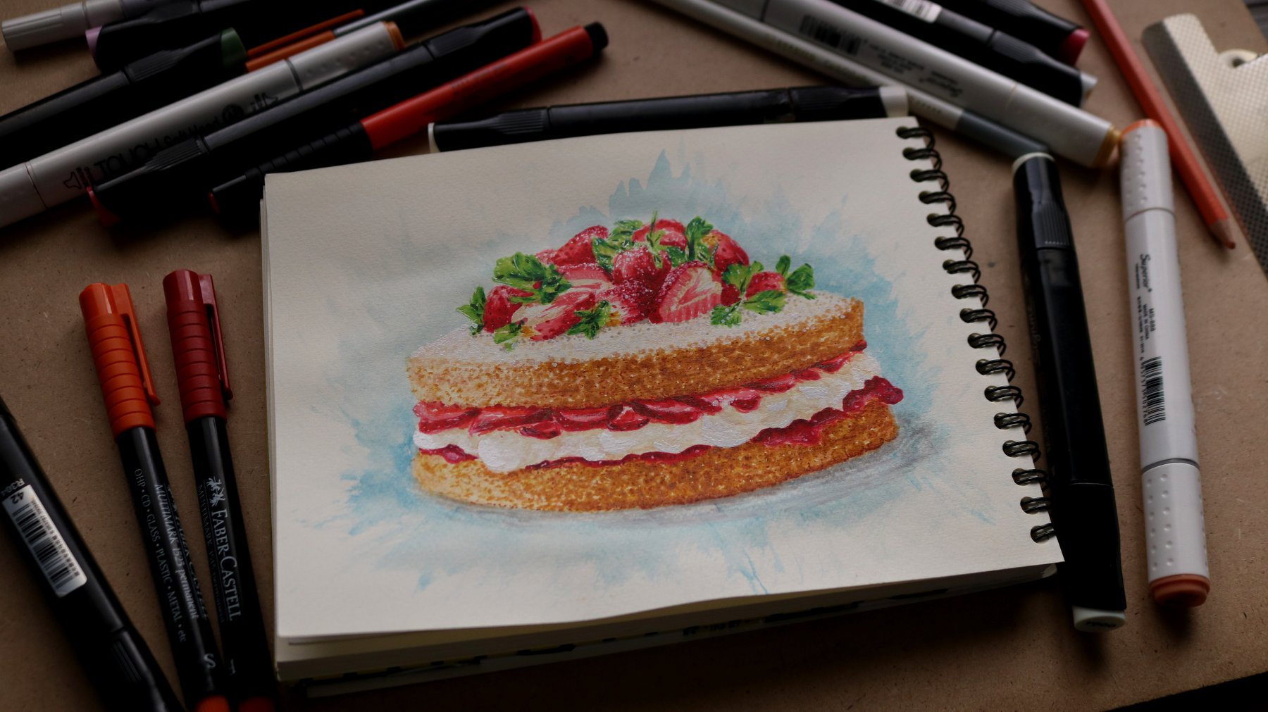 "Painting a ""yummy"" Strawberry Tart رسم تورتة الفراوله   😋"
