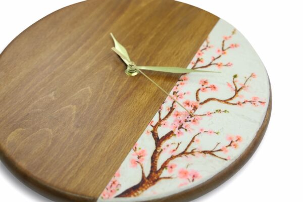 Pink-flowers-tree-wooden-wall-clock