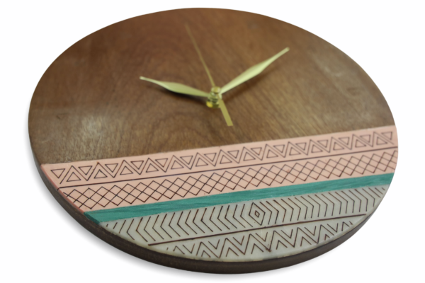 Tribal-pink-turquoise-wood-wall-clock-side-2