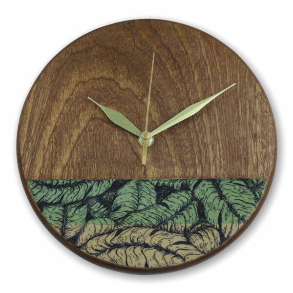 mahogany-Wood-wall-clock-with-banana-leaves