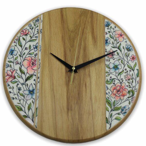 Beechwood-wall-clock-floral-pattern