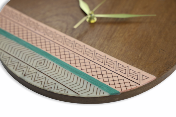 Tribal-pink-turquoise-wood-wall-clock-side