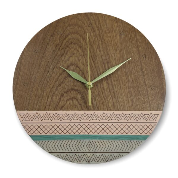 Tribal-pink-turquoise-wood-wall-clock