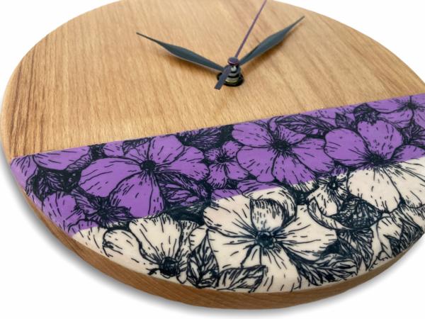 Purple-beige-flowers-wood-wall-clock-side