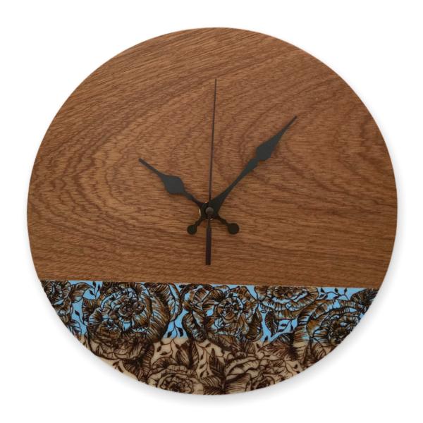Blue-roses-wood-wall-clock-side