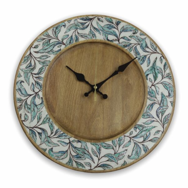 Turquoise-leaves-wood-wall-clock