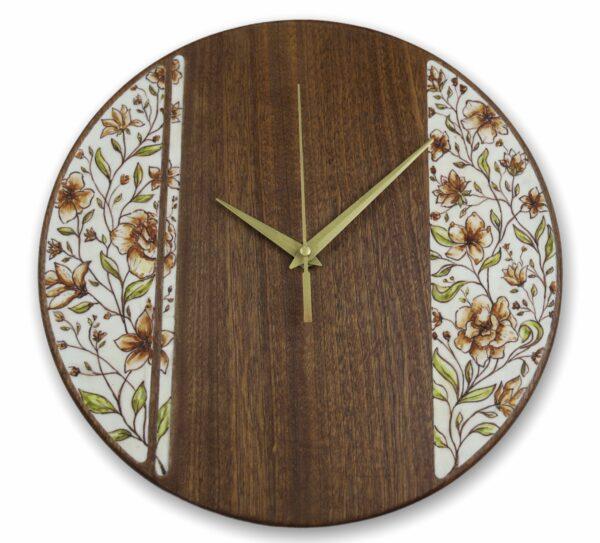 mahogany-Wood-wall-clock-with-flowers