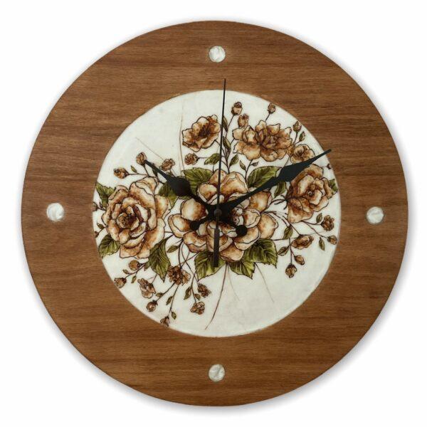 brown-and-orange-flowers-drawing-wood-wall-clock