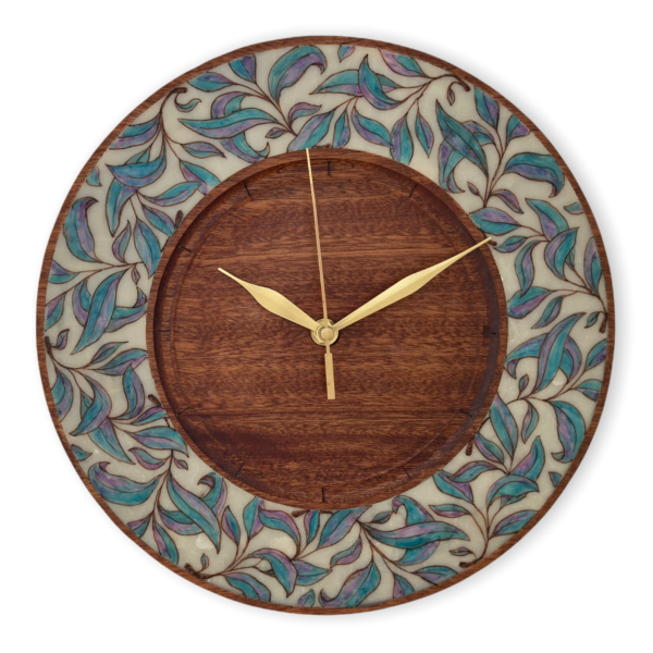 Wood-wall-clock-with-leaves-polymer-clay-inlaid-wood