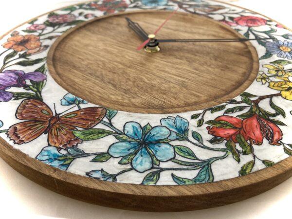 Teak-wood-wall-clock-botanical-drawings